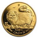 1997 Isle of Man 1 oz Gold Longhaired Smoke Cat BU