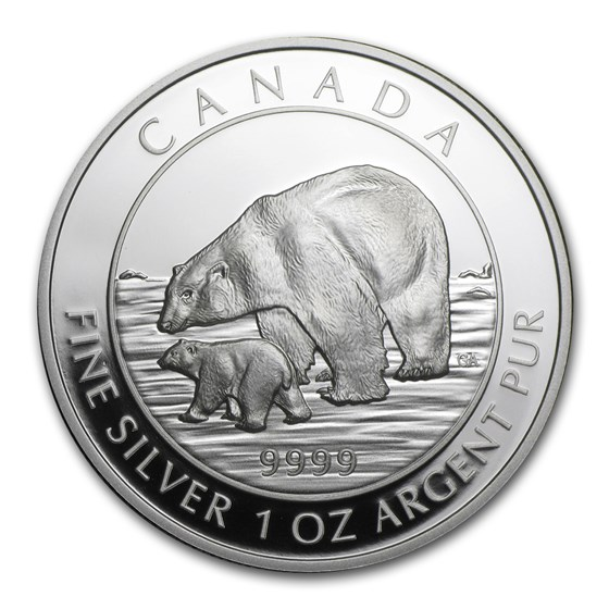 2015 Canada 1 oz Proof Silver $5 Polar Bear and Cub