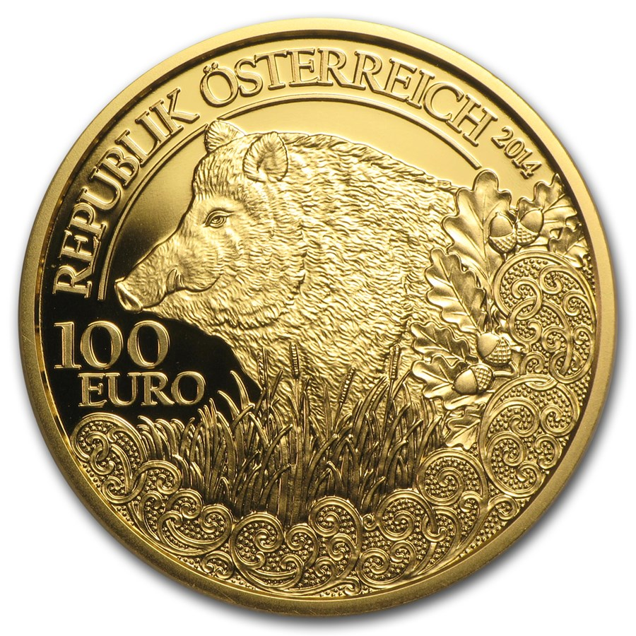 2014 Austria Proof Gold €100 Wildlife in our Sights (Wild Boar)