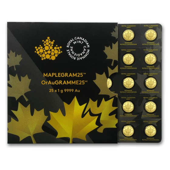 2015 25x 1 gram Gold Maple Leafs - Maplegram25™ (In Assay Sleeve)