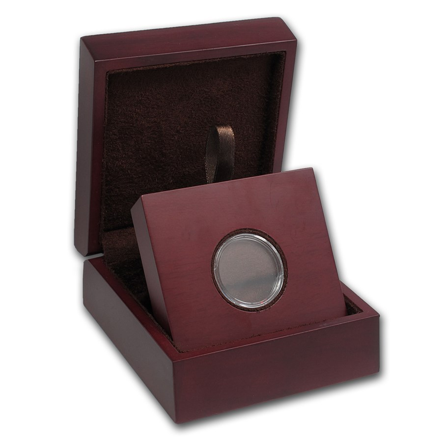 APMEX Wood Gift Box - Includes 26 mm Direct Fit Air-Tite Holder