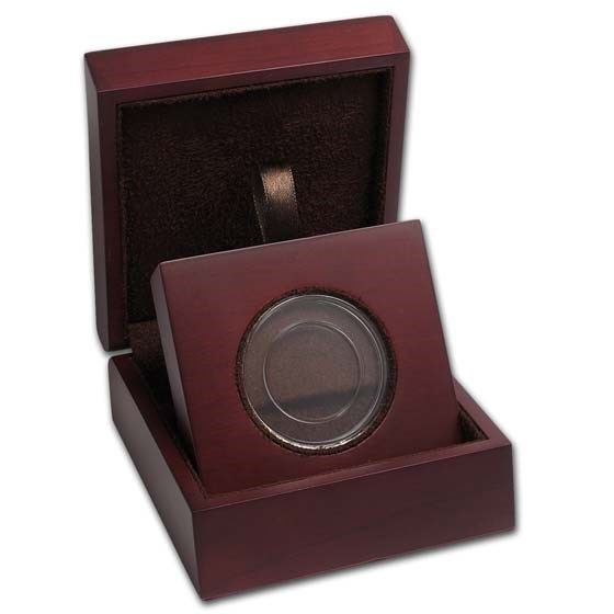 APMEX Wood Gift Box - Includes 27 mm Direct Fit Air-Tite Holder