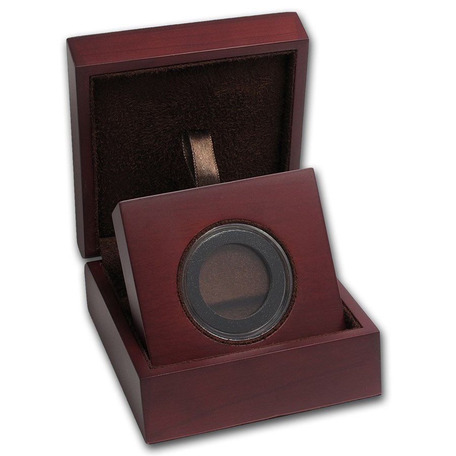 APMEX Wood Gift Box - Includes 29 mm Air-Tite Holder with Gasket