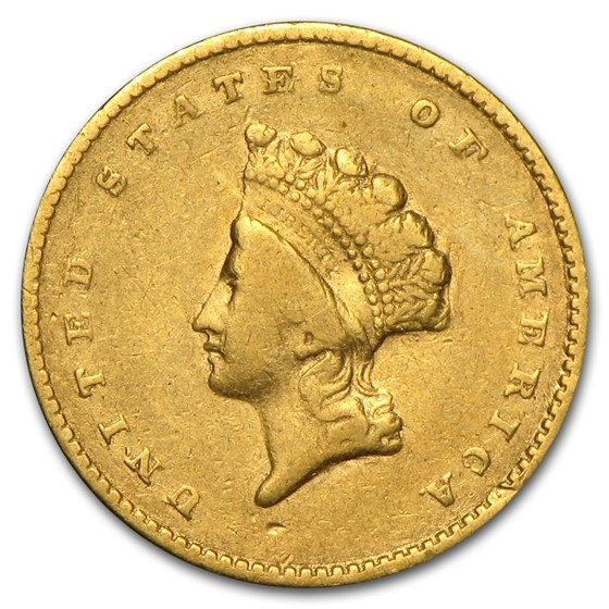 $1 Indian Head Gold Type 2 VF