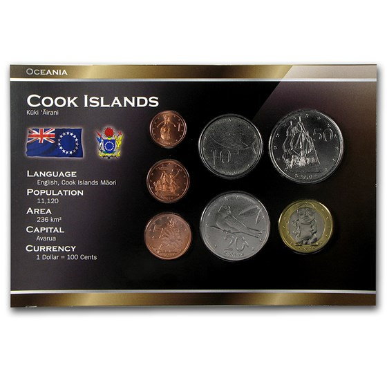 Cook Islands 1 Cent-1 Dollar 7-Coin Set Unc