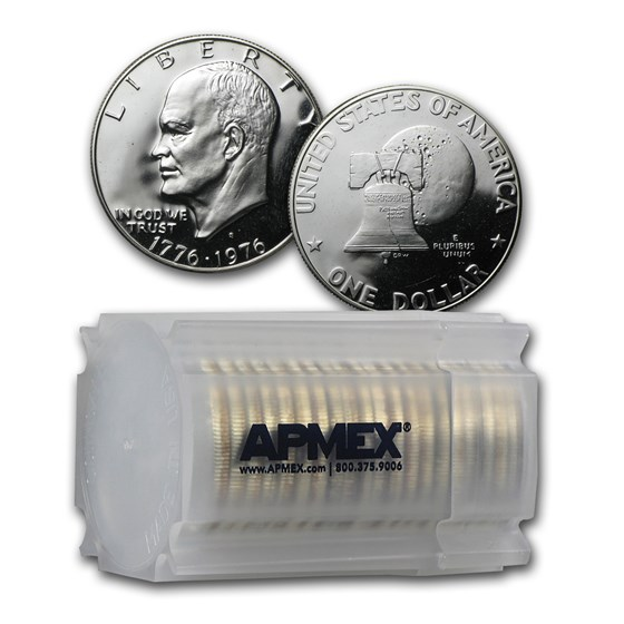 1976-S 40% Silver Eisenhower Dollar 20-Coin Roll Gem Proof