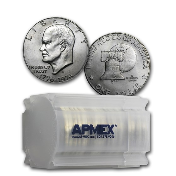 1976-S 40% Silver Eisenhower Dollar 20-Coin Roll BU (Type 1)