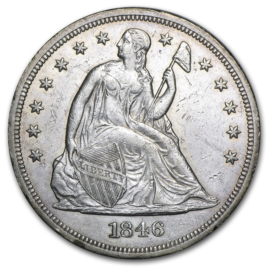 1846 Liberty Seated Dollar AU