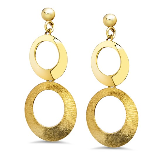 14k Gold Polished and Scratch Finish Circle Post Earrings