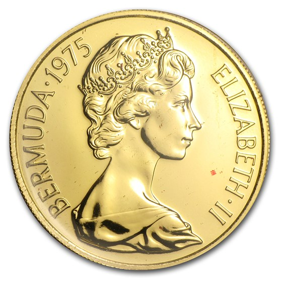 1975 Bermuda Gold $100 Royal Visit BU/Proof