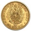 Germany Gold 20 Marks Prussia William I (1871-1888) AU