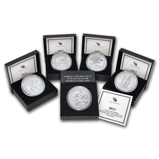 2013-P 5-Coin 5 oz Silver Burnished ATB Set (w/Box & COA)