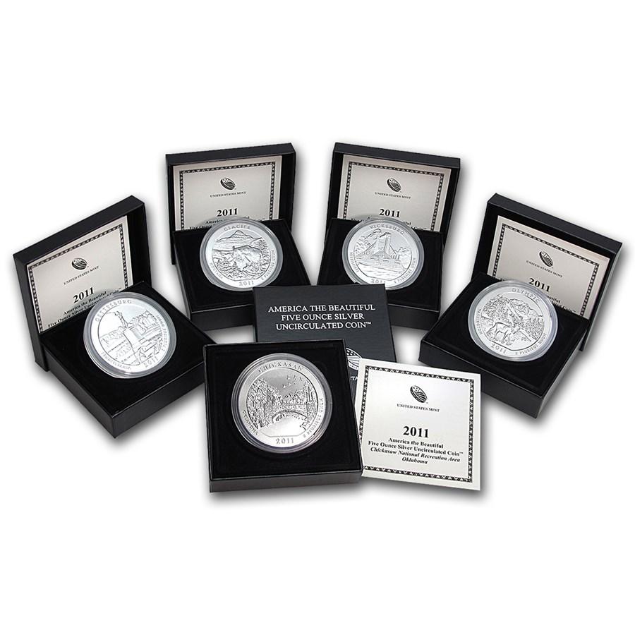 2011p 5coin 5 oz silver atb set wbox  coa  atb 5 oz