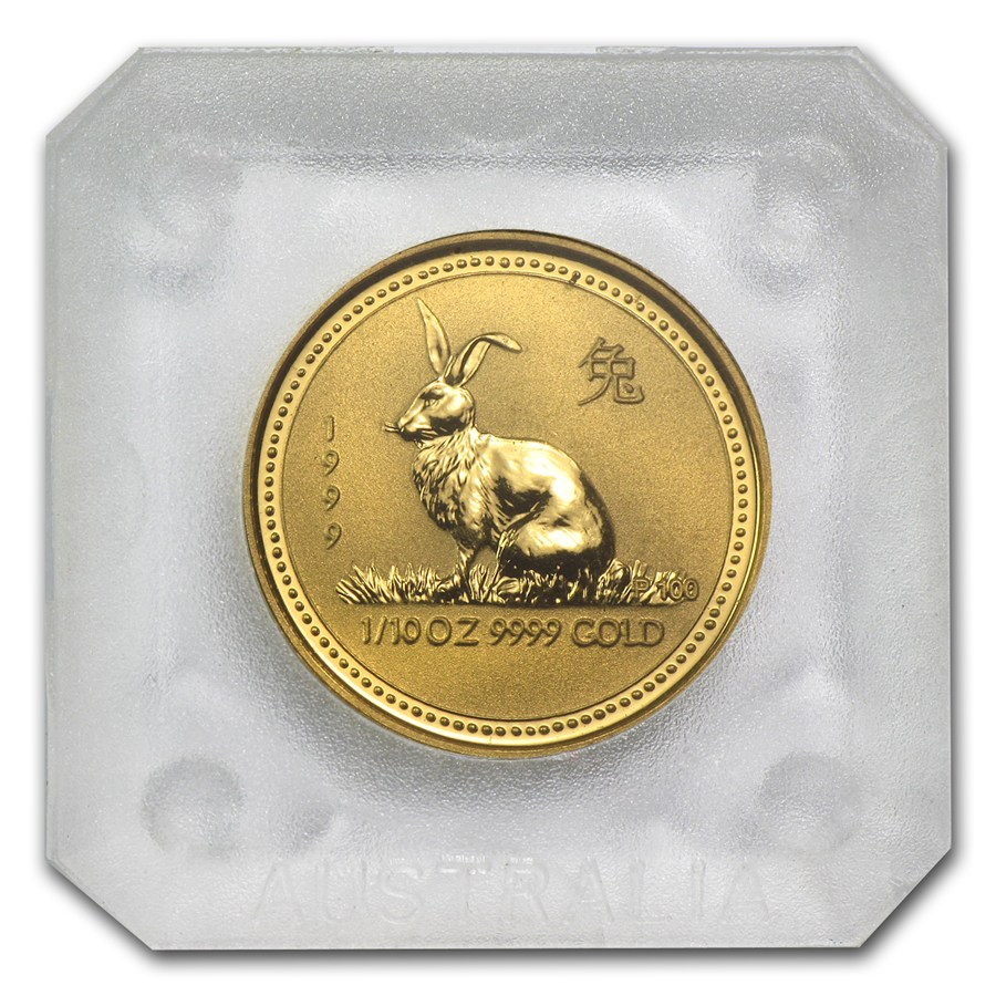 1999 Australia 1/10 oz Gold Lunar Rabbit BU (Series I)