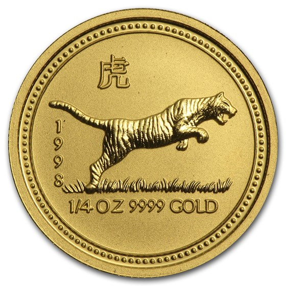 1998 Australia 1/4 oz Gold Lunar Tiger BU (Series I)
