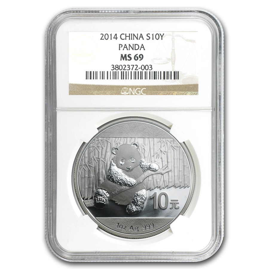 2014 China 1 oz Silver Panda MS-69 NGC