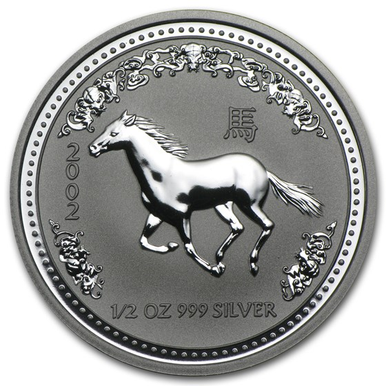 2002 Australia 1/2 oz Silver Year of the Horse BU (Series I)