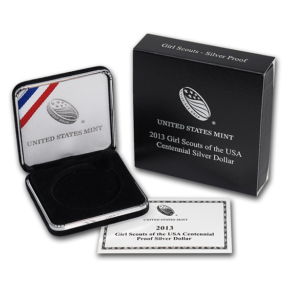 OGP Box & COA - 2013 U.S. Mint Girl Scouts Silver Proof Coin