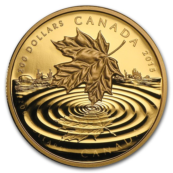 2015 Canada 1 oz Proof Gold $200 Maple Leaf Reflection