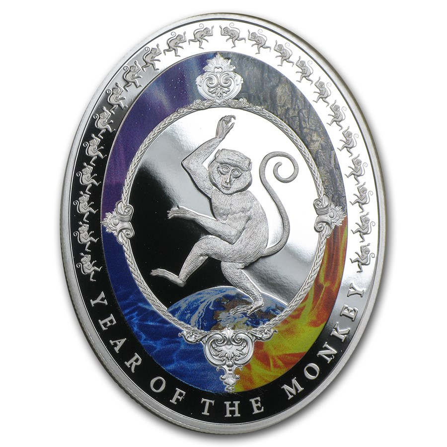 2016 Tokelau 1 oz Silver Year of the Monkey Elements Prf (Oval)