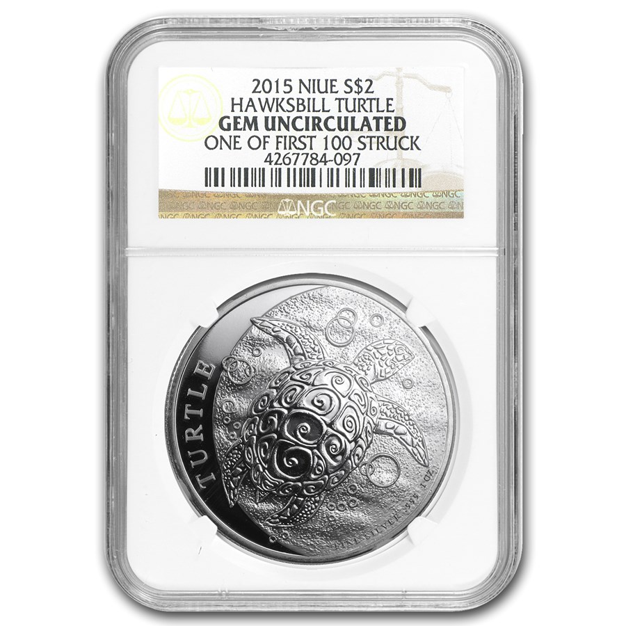 2015 Niue 1 oz Silver $2 Hawksbill Turtle NGC (1st of 100 Struck)