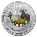 2015 Australia 1/2 oz Silver Goat BU (Series II, Colorized)