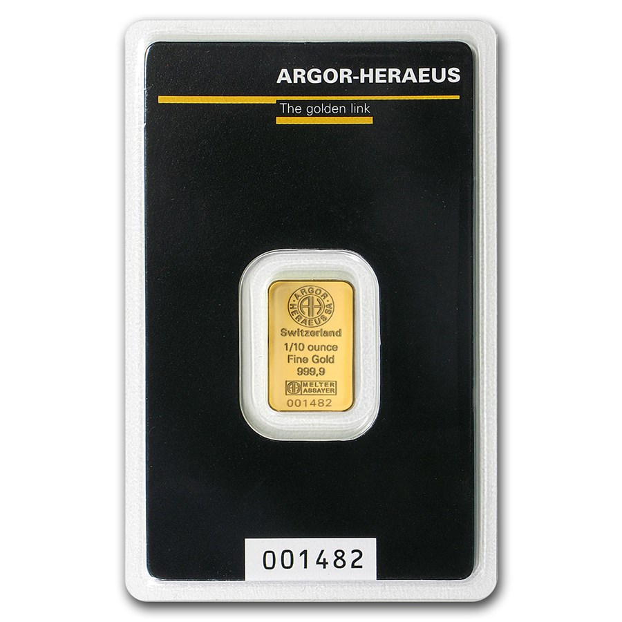 1/10 oz Gold Bar - Argor-Heraeus