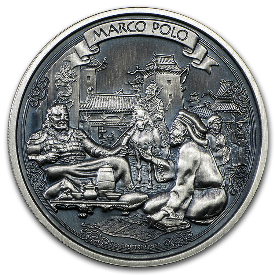 2015 Niue 2 oz Silver $5 Marco Polo High Relief (w/Box & COA)