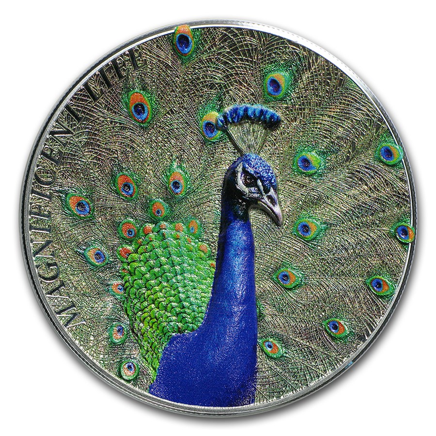 2015 Cook Islands 1 oz Silver Magnificent Life (Peacock)