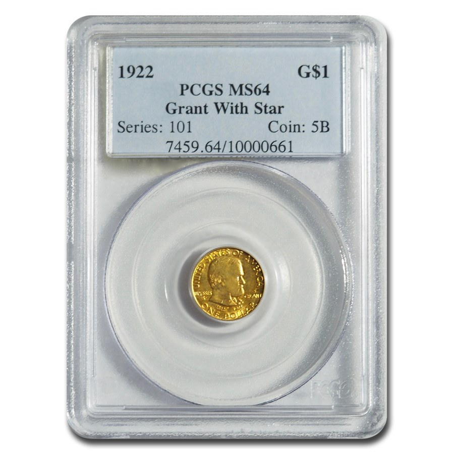 1922 Gold $1.00 Grant w/Star MS-64 PCGS
