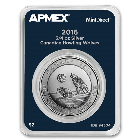 2016 Canada 3/4 oz Silver Howling Wolves (MintDirect® Single)