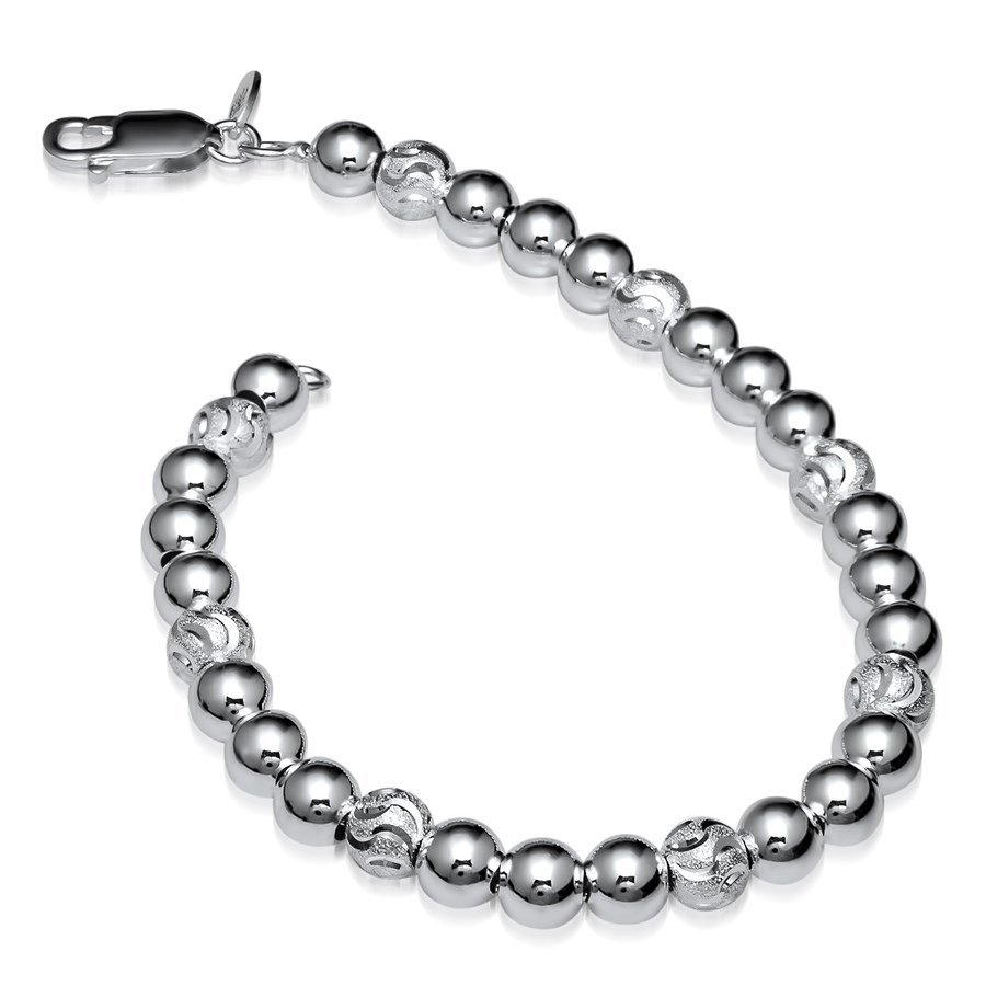 Sterling Silver Polished and Diamond-Cut Beaded Bracelet