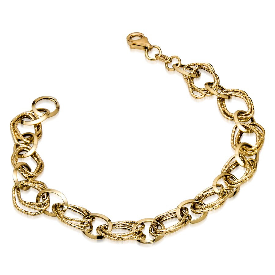 14k Gold Polished and Textured Fancy Link Bracelet