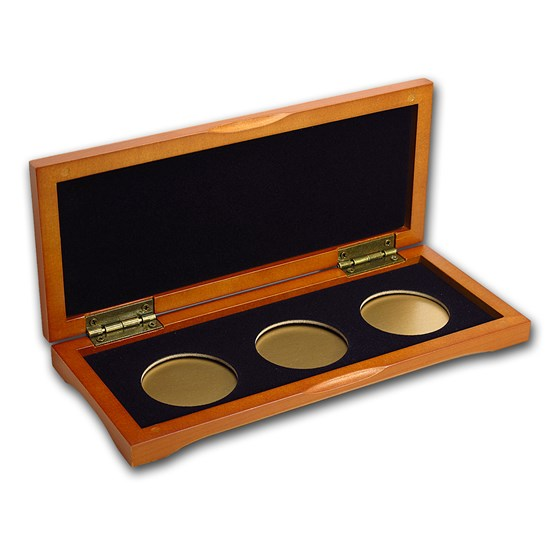 3 coin Wood Presentation Box - Fits Up to 40 mm (For Gold)