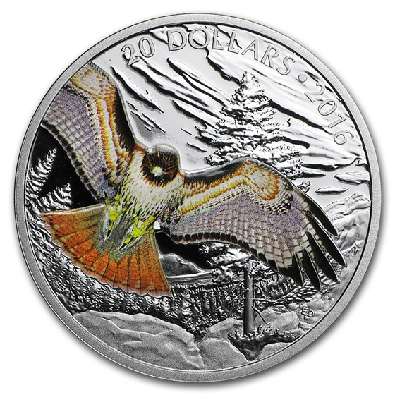 2016 Canada 1 oz Silver $20 Red Tailed Hawk Proof