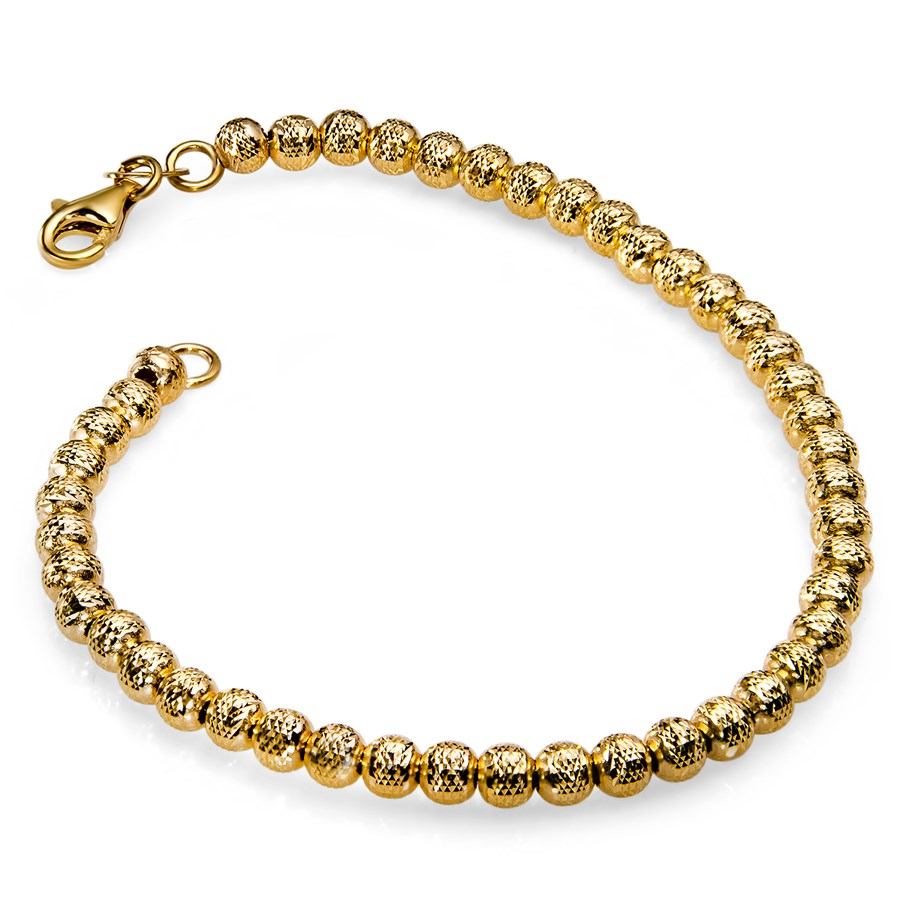 14k Gold Diamond-Cut Beaded Bracelet