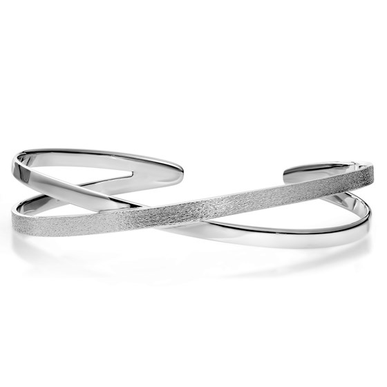 Sterling Silver Polished & Textured Bangle