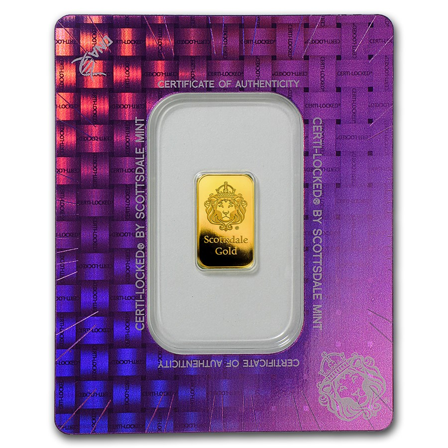 2 gram Gold Bar - Scottsdale Mint (In Certi-Lock® Assay)