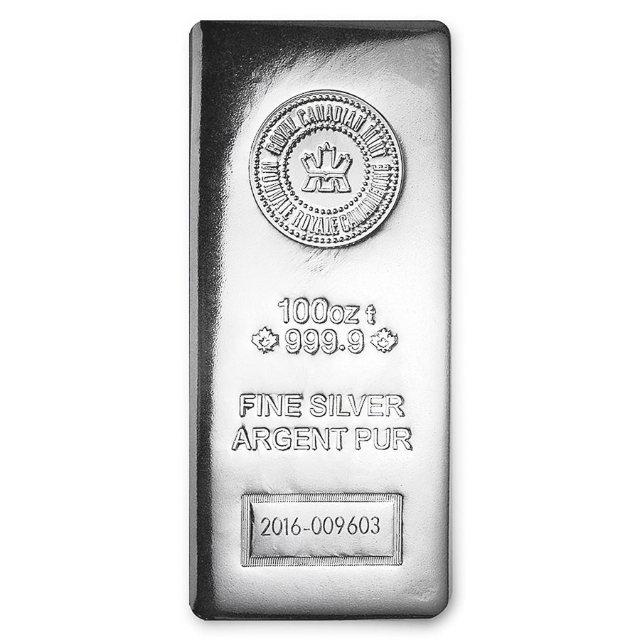 100 oz Silver Bar - Royal Canadian Mint (.9999 Fine, Pressed)