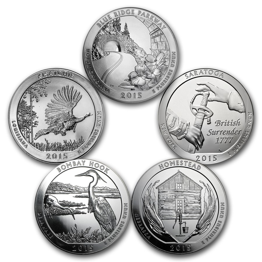 2015 5-Coin 5 oz Silver ATB Set (America the Beautiful)