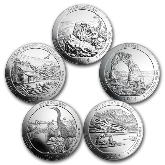 2014 5-Coin 5 oz Silver ATB Set (America the Beautiful)