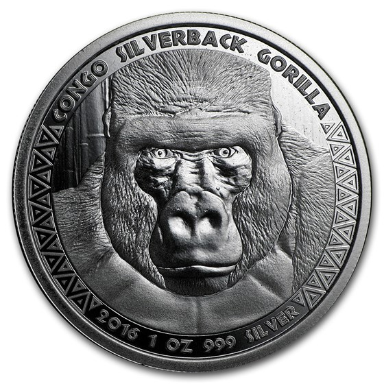 2016 Republic of Congo 1 oz Silver Silverback Gorilla (Prooflike)