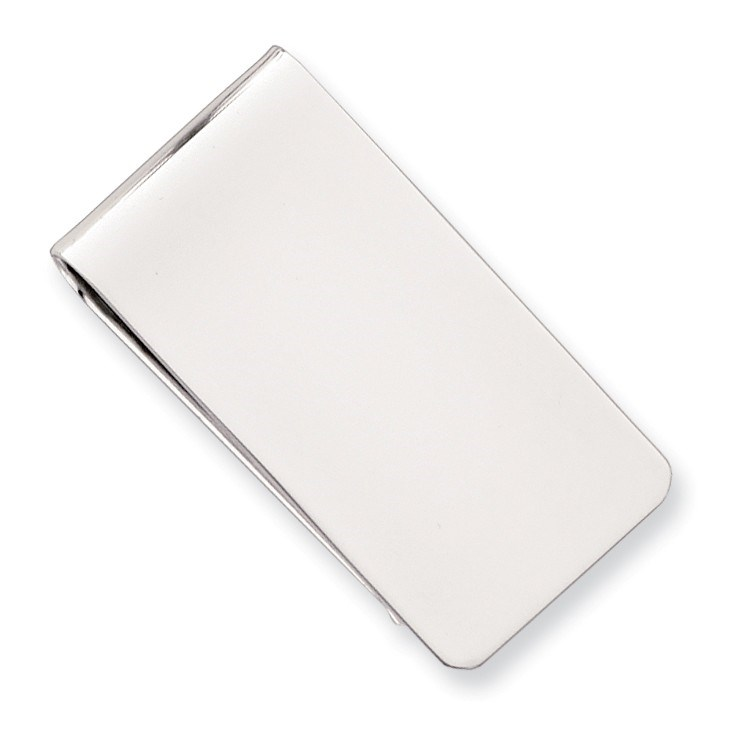 Rhodium Plated Polished Rectangle Money Clip