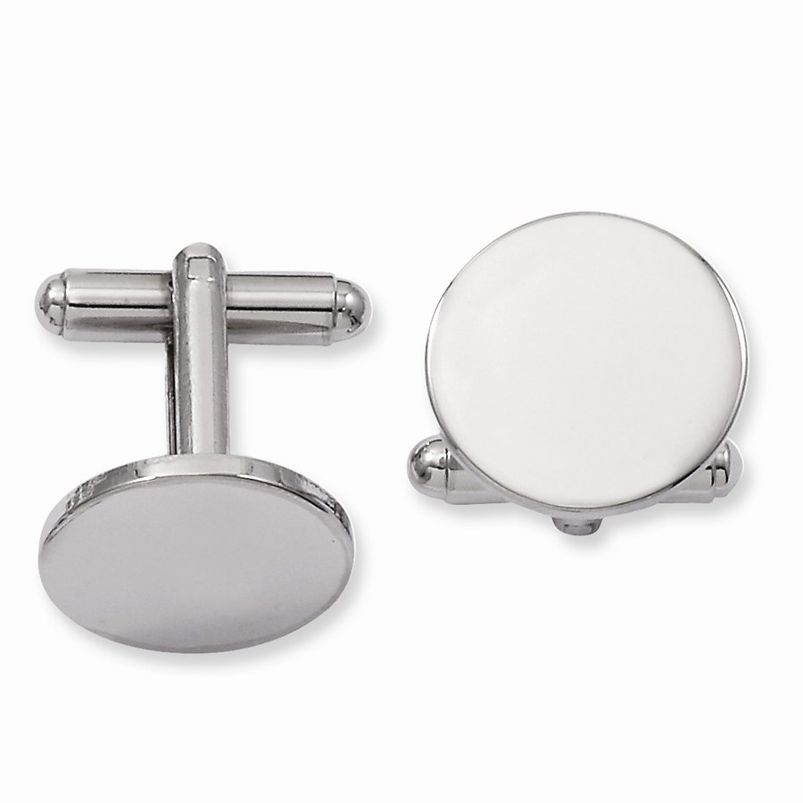 Rhodium Plated Round Polished Cuff Links
