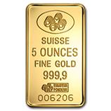 APMEX 5 oz Cast-Poured Gold Bar SKU#211168