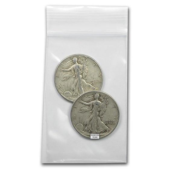 $1.00 Face Value 90% Walking Liberty Half Dollars Avg Circ