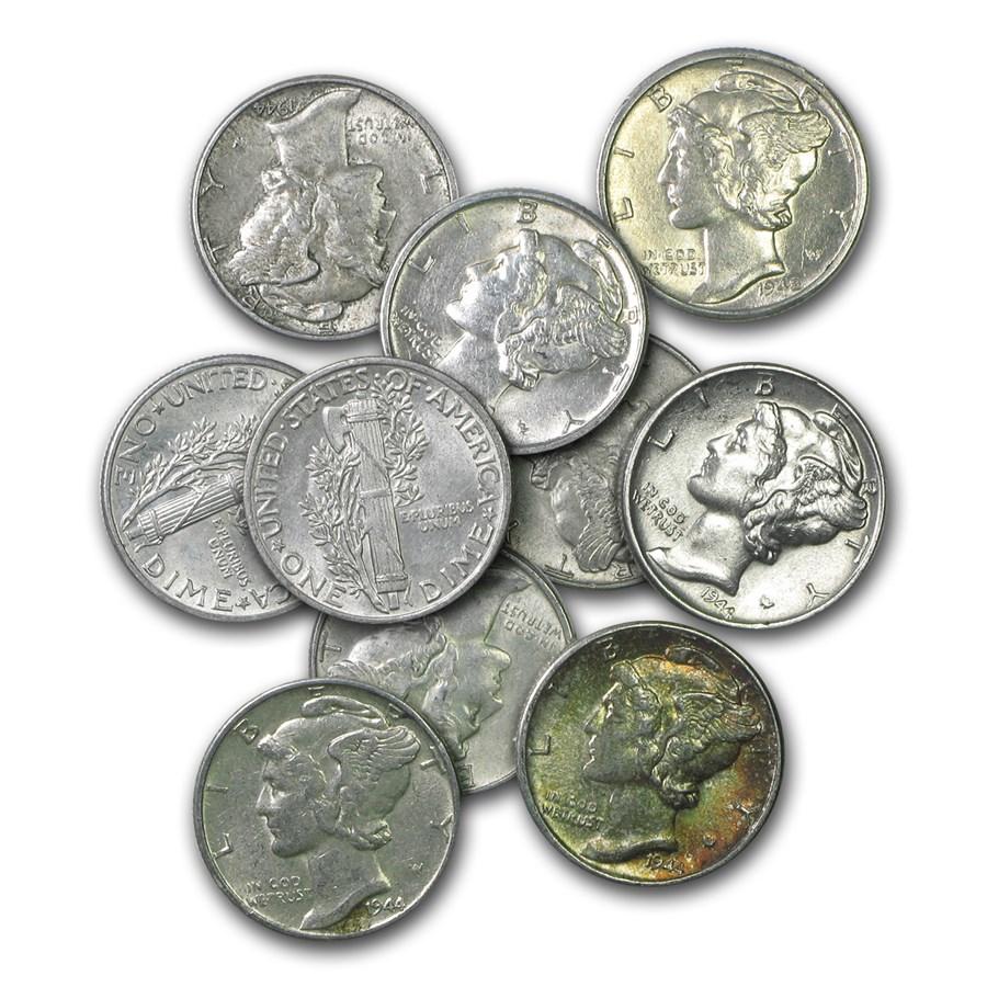 $1.00 Face Value Mercury Dimes AU