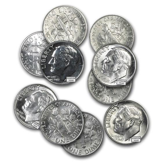 $1.00 Face Value Silver Roosevelt Dimes BU