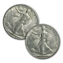 $1.00 Face Value Silver Walking Liberty Halves AU