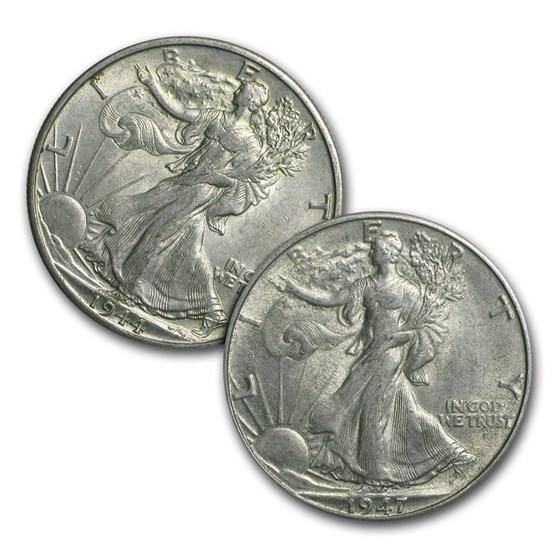 $1.00 Face Value Silver Walking Liberty Halves AU
